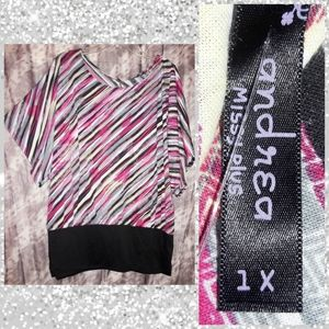 Andrea Multicolor Striped Soft Knit Banded Top 1X